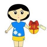 Nettes Mädchen mit Geschenk Lizenzfreies Stockbild