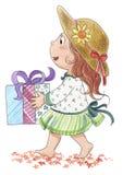 Nettes Mädchen mit GeschenkAquarell Stockbilder