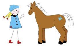 Nettes Mädchen mit Pferd Lizenzfreie Stockfotos
