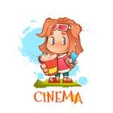 Nettes Mädchen mit Popcorn und Karte Lizenzfreie Stockbilder