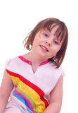 Nettes Mädchen mit Regenbogenkleid Stockfotografie