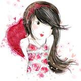 Nettes Mädchen mit rotem Herzen Liebevolle Paare vektor abbildung