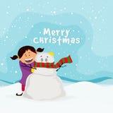 Nettes Mädchen mit Schneemann für frohe Weihnachten lizenzfreie abbildung