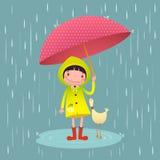 Nettes Mädchen und Freunde mit rotem Regenschirm in der Regenzeit lizenzfreie abbildung