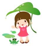 Nettes Mädchen und Frosch stock abbildung