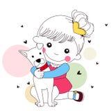 Nettes Mädchen und Hund Lizenzfreie Stockbilder