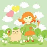 Nettes Mädchen und Katze mit Eiscreme Stockfoto
