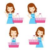 Nettes Mädchen und leere Einkaufskörbe mit den verschiedenen Aktionen eingestellt Lizenzfreie Stockfotos