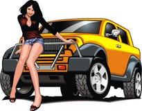 Nettes Mädchen und mein ursprüngliches Designauto Stockfotografie