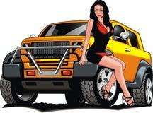 Nettes Mädchen und mein ursprüngliches Designauto Stockbilder