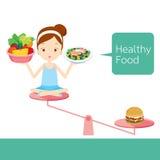 Nettes Mädchen und Nahrungsmittel auf Balance Lizenzfreies Stockfoto