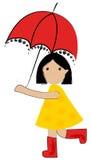 Nettes Mädchen unter Regenschirm Stockfotos
