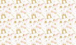 Nettes mädchenhaftes nahtloses Muster mit königlicher Kutsche, Schloss und Einhorn stock abbildung