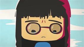 Nettes Mädchenporträt der Karikatur, das ihre Risse durch ihre Hand schreit und whiping Asiatisches betontes Animemädchen mit den lizenzfreie abbildung