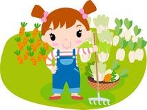 Nettes Mädchen und Gemüse Stockfotografie