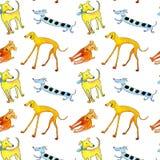 Nettes mehrfarbiges des Hunde- nahtlosen Musters lizenzfreie abbildung