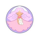 Nettes Mondprinzessinmädchen, das ein Kaninchen hält Stockfoto