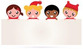 Nettes multikulturelles Weihnachten scherzt Fahne stock abbildung