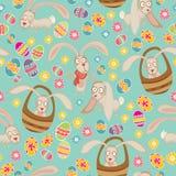 Nettes Muster Ostern mit Häschen Stockbilder