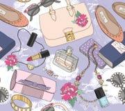Nettes nahtloses Modemuster für Mädchen Stockfotografie