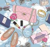Nettes nahtloses Modemuster für Mädchen oder Frau Stockbild