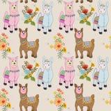 Nettes nahtloses Muster des Alpakas und der Blume lizenzfreie abbildung