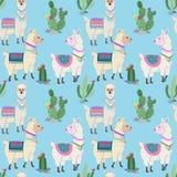 Nettes nahtloses Muster des Alpakas und des Kaktus stock abbildung