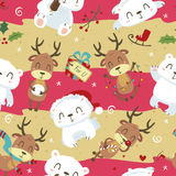 Nettes nahtloses Muster des Eisbären und der Rotwild der Karikaturart Stockfoto