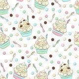 Nettes nahtloses Muster des gefrorenen Joghurts Süßes kaltes Nachtischvektordesign Lizenzfreie Stockbilder