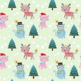 Nettes nahtloses Muster des Katzen- und Weihnachtsbaums vektor abbildung