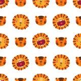 Nettes nahtloses Muster des Löwes und des Tigers lizenzfreie abbildung