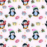 Nettes nahtloses Muster des Pinguins und des Geschenks lizenzfreie abbildung