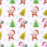 Nettes nahtloses Muster des Schwein- und Weihnachtsbaums stock abbildung