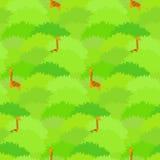 Nettes nahtloses Muster mit den hohen Giraffen, die im grünen tropischen Wald sich verstecken lizenzfreie abbildung
