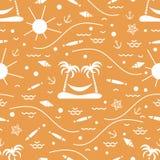 Nettes nahtloses Muster mit Fischen, Insel mit Palmen und ein ha Stockfoto