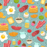 Nettes nahtloses Muster mit Frühstücksnahrung Lizenzfreie Stockfotos