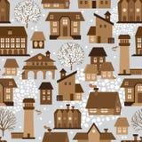 Nettes nahtloses Muster mit Häusern und Bäumen