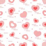 Nettes nahtloses Muster mit Herzen in der Zelle Stockbild