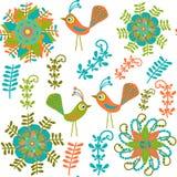 Nettes nahtloses Muster mit Karikaturvogel und -blume Stockbilder