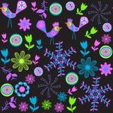 Nettes nahtloses Muster mit Karikaturvogel und -blume Lizenzfreies Stockfoto