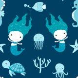 Nettes nahtloses Muster mit Meerjungfrauen Lizenzfreies Stockfoto