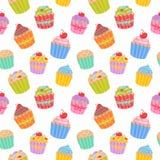 Nettes nahtloses Muster mit Muffins und kleinen Kuchen Stockbild