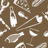 Nettes nahtloses Muster mit Schnellimbiß Stockfotografie