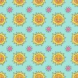 Nettes nahtloses Muster mit Sonne und Sternen Stockfotografie