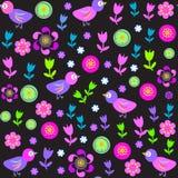 Nettes nahtloses Muster mit Vögeln und Blumen für t Lizenzfreie Stockbilder
