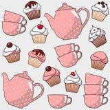 Nettes nahtloses Muster mit verschiedenen kleinen Kuchen, Muffins, Tee, Kaffeetopf, Schalen, Illustrationshintergrund Stockbild