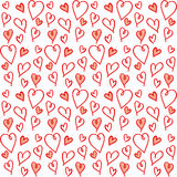Nettes nahtloses Muster mit von Hand gezeichneten Herzen Stockbild