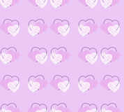 Nettes nahtloses Muster mit von Hand gezeichneten Herzen Stockfotografie