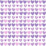 Nettes nahtloses Muster mit von Hand gezeichneten Herzen Lizenzfreies Stockfoto