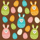 Nettes nahtloses Muster Ostern mit Eiern und Häschen, Illustration Stockfotografie